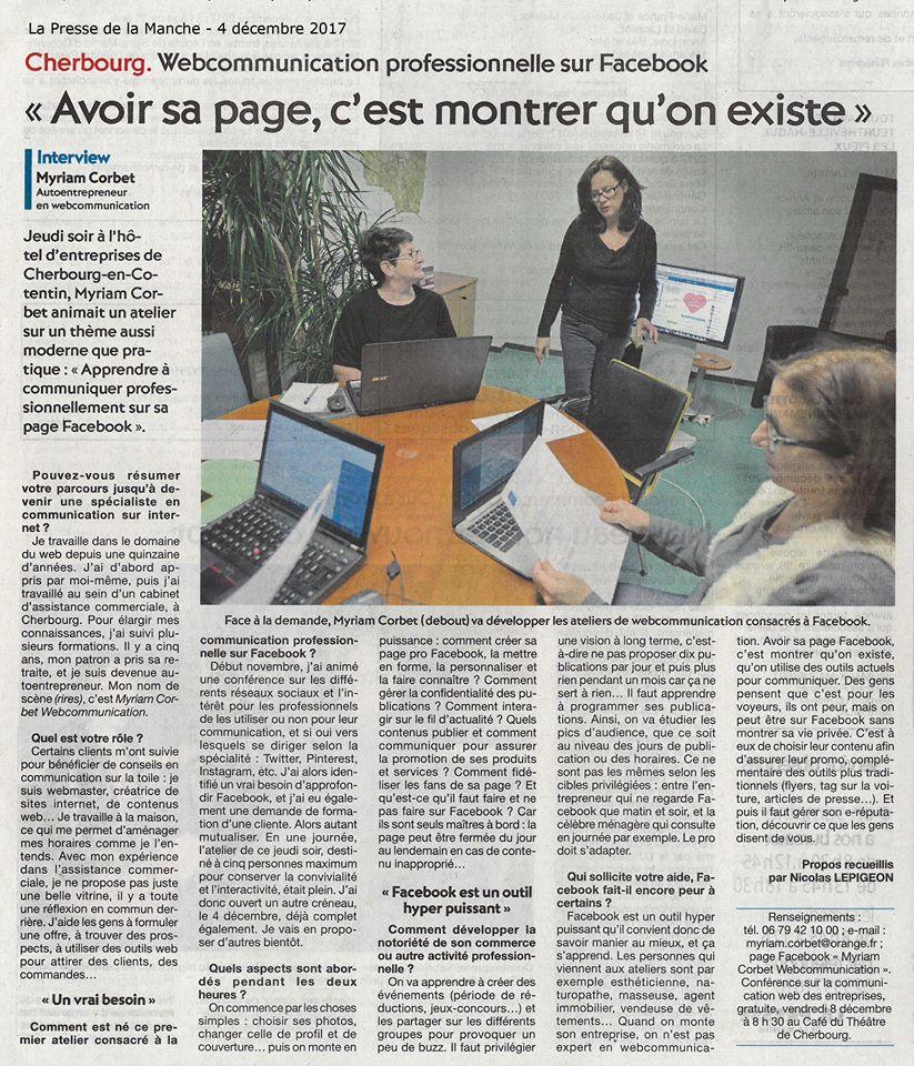 Article Presse de la Manche Myriam Corbet 4 décembre 2017