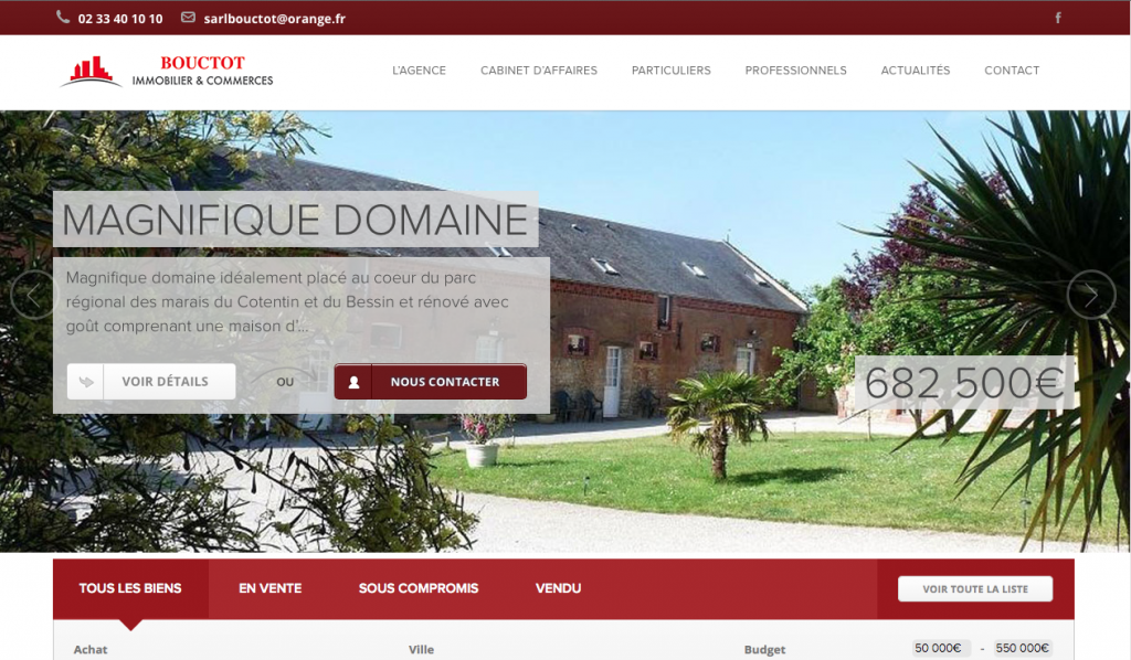 Cr ation du site internet bouctot immobilier myriam for Agence immobiliere cherbourg