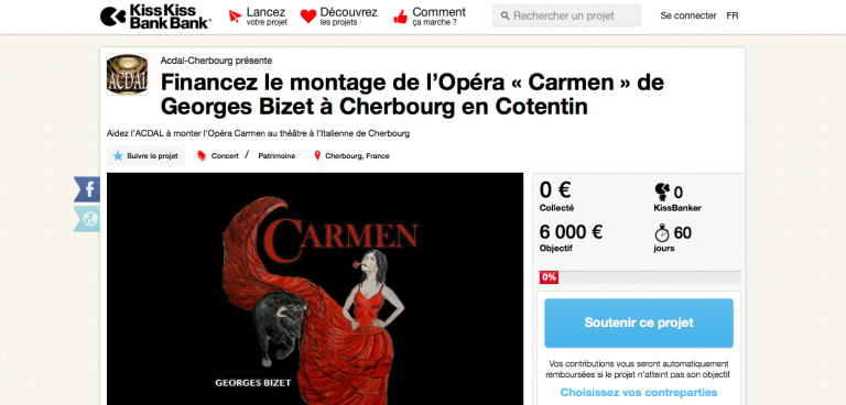 Mise en place et lancement de la collecte pour la réalisation de l'Opéra Carmen