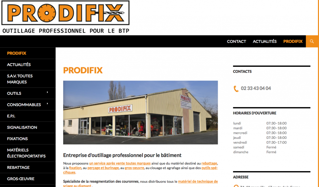 Site internet Prodifix