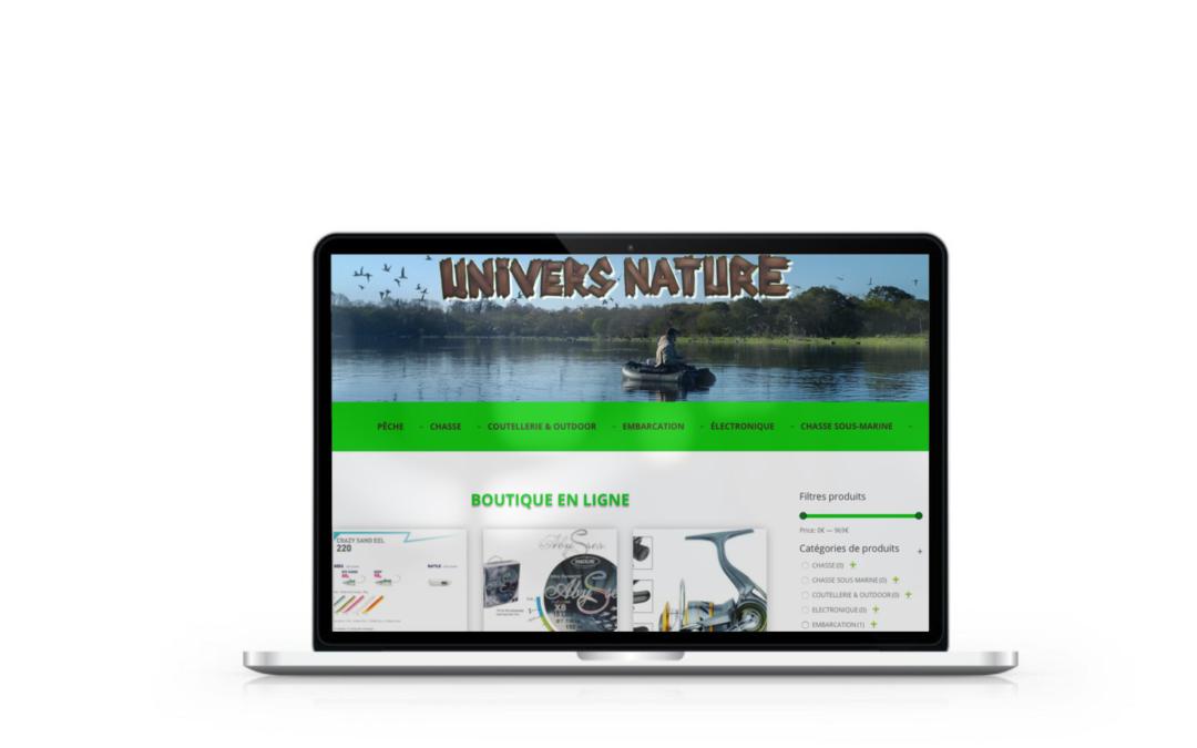 Création de la boutique en ligne Univers-Nature.net