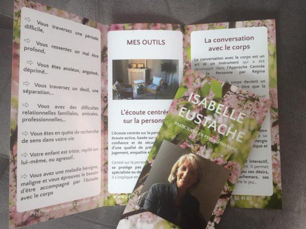 Création de dépliant pour Isabelle Eustache, praticienne en psychothérapie